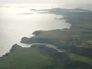 Welsh coast & Solva with Ramsey Island in the background