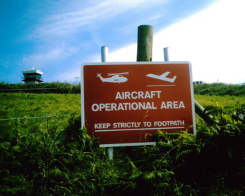 Warning on the footpath to the airfield